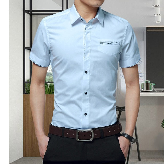 Men's Cotton Short-Sleeved Dress Shirt