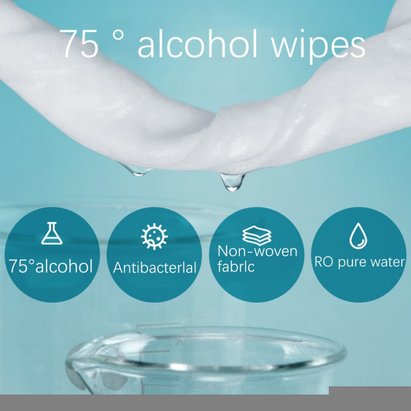 50pcs 75% Ethanol Wipes Disinfecting Disposable Wipes