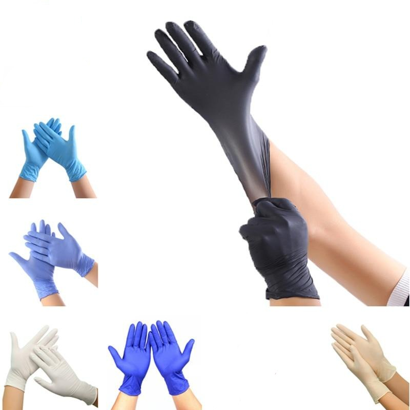 100 Pcs Disposable Nitrile Gloves for Universal Use Kitchen - Dishwashing - Medical  - Work - Rubber - Garden