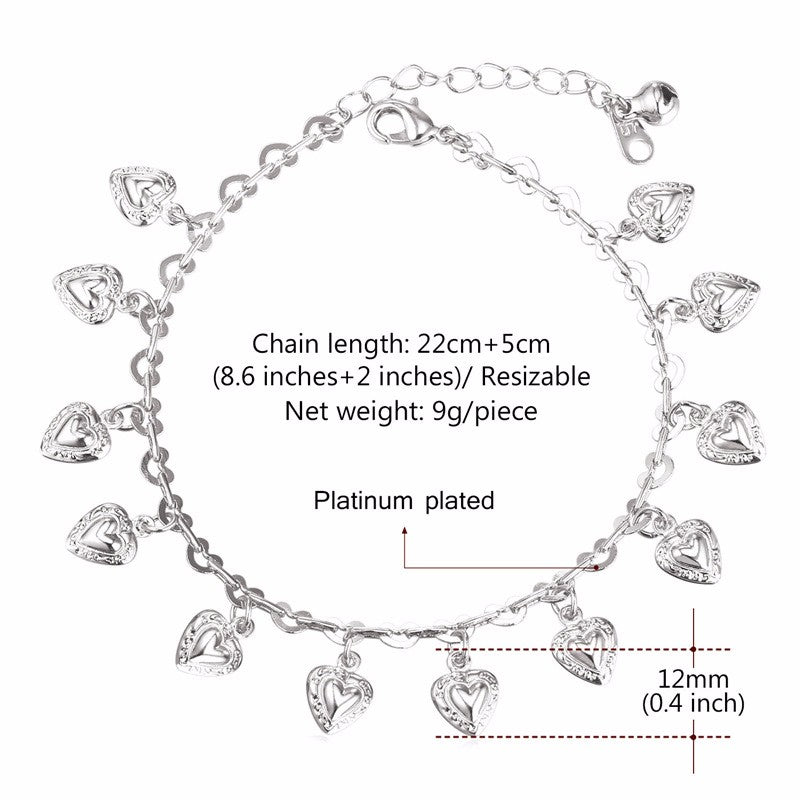 U7 Heart Charms Ankle Bracelet On Leg Gold Color Summer Jewelry Anklet Bracelet Foot Jewelry For Women Gift A318