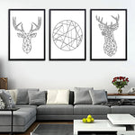 Geometric Deer Head Abstract Wall Picture Canvas Painting Canvas Art Print Poster Wall Pictures For Home Decoration Wall Decor