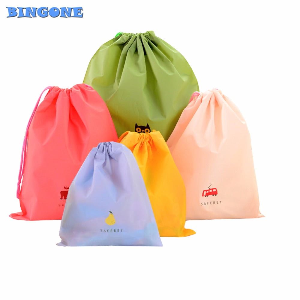 5pcs/set Cartoon Waterproof Drawstring Pouch Storage Bags Travel Shoe Laundry Makeup Cosmetic Underwear Camping Organizer -FT