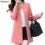 Fashion Round Neck Long Sleeve Women Coats S-XXL Solid Color Casaco Feminino Loose Cardigan Autumn Slim Thin Outerwear