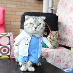 Pet Halloween Doctor Costume Dog Jeans Clothes Cat Funny Apperal