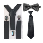 Boys Black Dots Suspenders Necktie Bowtie Ties Set