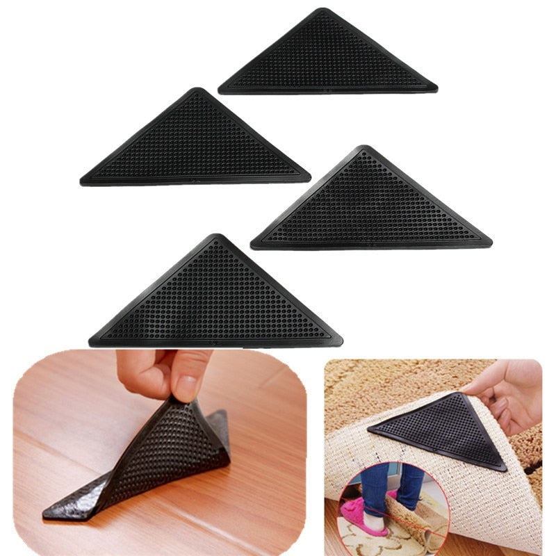 4 Pack: Reusable Rug Carpet Sticky Grippers