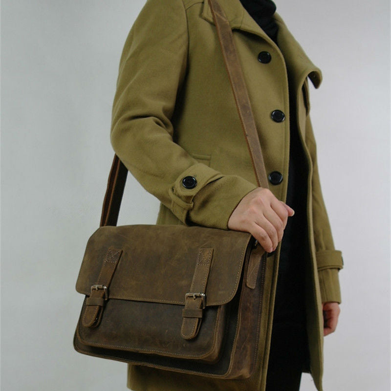 Vintage Crazy Horse Leather Men Shoulder Bag Crossbody Bag Men's Messenger Bag Genuine Leather Bag male Leisure Cowhide