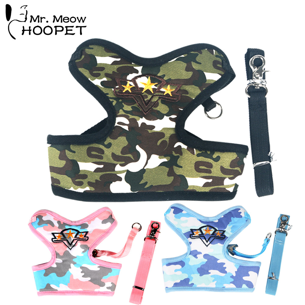 Small Cat Dog Three-color Camouflage Clothing Suit Harnesses Leashes Super Comfortable Pet Supplies Pink&Green&Blue