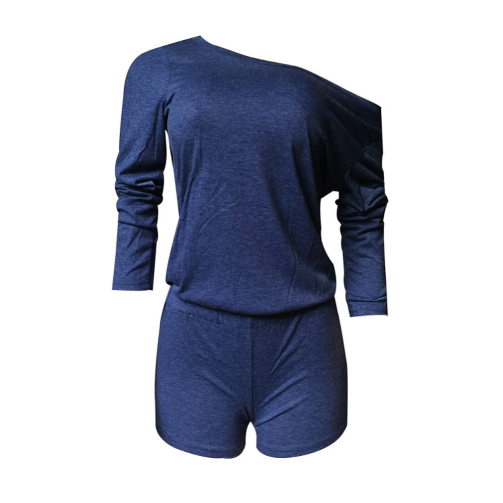 Women Sexy Playsuits One Shoulder Long Sleeve Fit Bodysuits Rompers Tops Shorts O-Neck Jumpsuit Casual Pull Femme 2