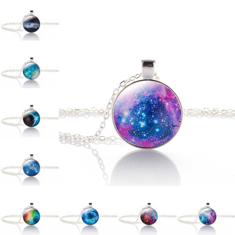 Nebula Space Pendant Necklace Glass Cabochon Sliver Chain Vintage Choker Statement Necklaces