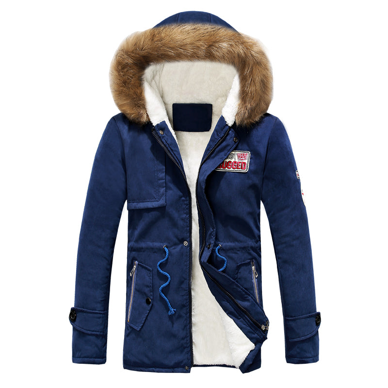 winter men jacket fur hood men's coat outwear windbreaker overcoat M-4XL AYG120