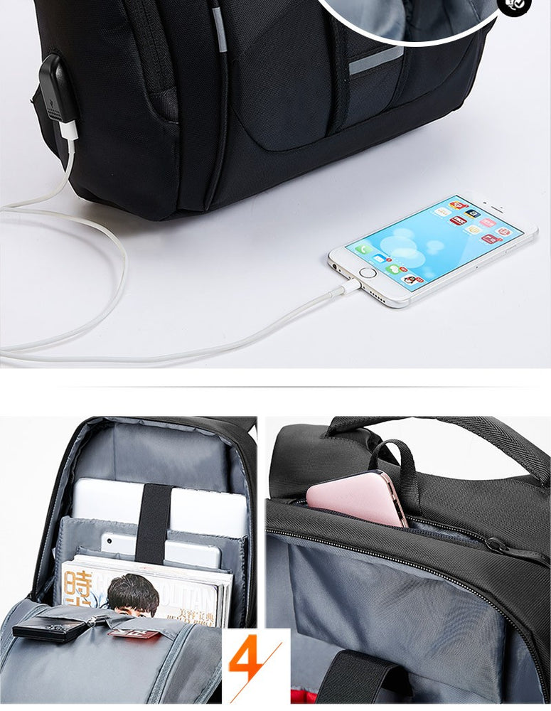 Nylon Waterproof USB Charging Multi-Purpose Business / School Backpack