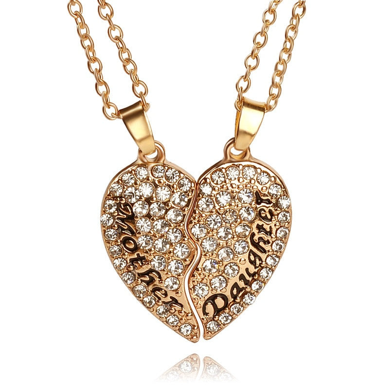 Heart Mother Daughter Cubic Zirconia Necklace 2pc Set