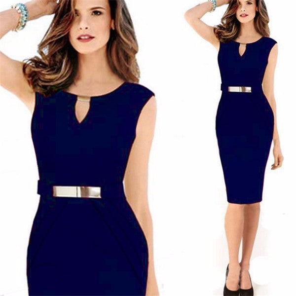 Women's Sequin O-Neck Office Dress
