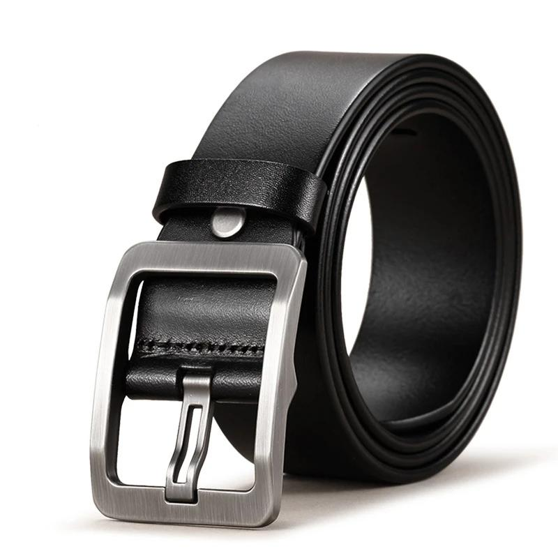 Men's Cowhide Genuine Leather Belt with Pin Buckle