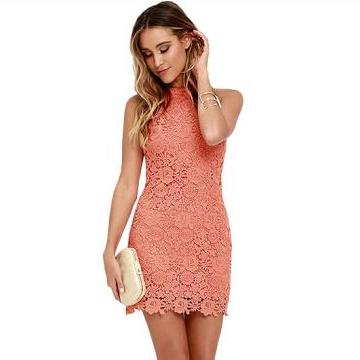 Women's Elegant Halter Neck Sleeveless Lace Dress
