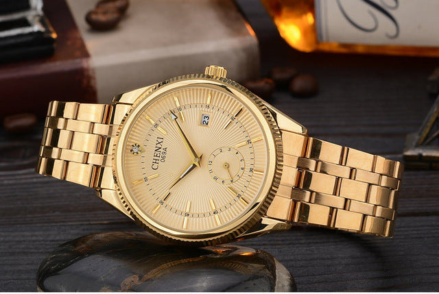 CHENXI Gold Watch Men Watches Top Brand Luxury Famous Wristwatch Male Clock Golden Quartz Wrist Watch Calendar