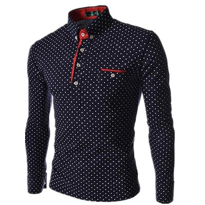 Men's Polka Dot Fashioned Button-Up Polo Dress Shirt