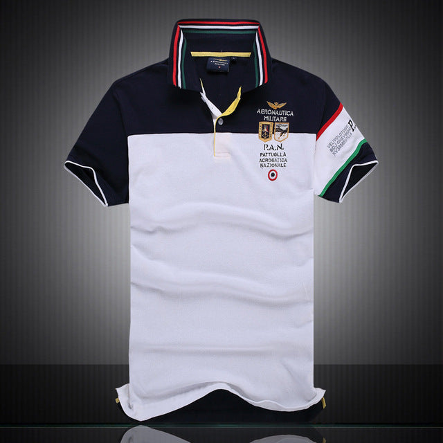 summer autumn new men's boutique embroidery 100% cotton polo shirt Men's Business Solid lapel Slim polo shirt size M-XXL