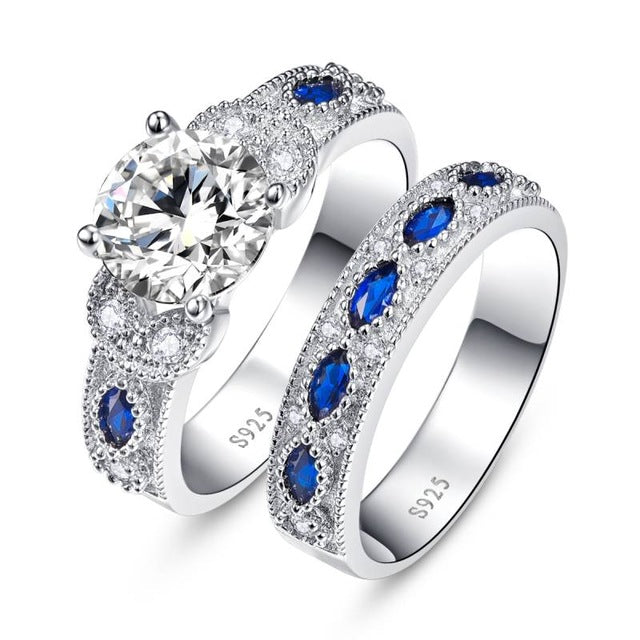 Ladies White CZ and Sapphire 925 Silver Ring