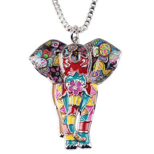 Bonsny Statement Maxi Alloy Enamel Jungel Elephant Choker Necklace Chain Pendant Collar Fashion New Enamel Jewelry Women