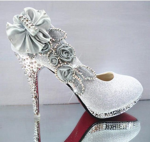 Women's Glitter Gorgeous Wedding Bridal Evening Party Crystal High Heels