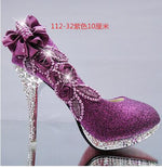 Glitter Gorgeous Wedding Bridal Evening Party Crystal High Heels Women Shoes   Woman Pumps Fashion Bridal Shoes 9 color