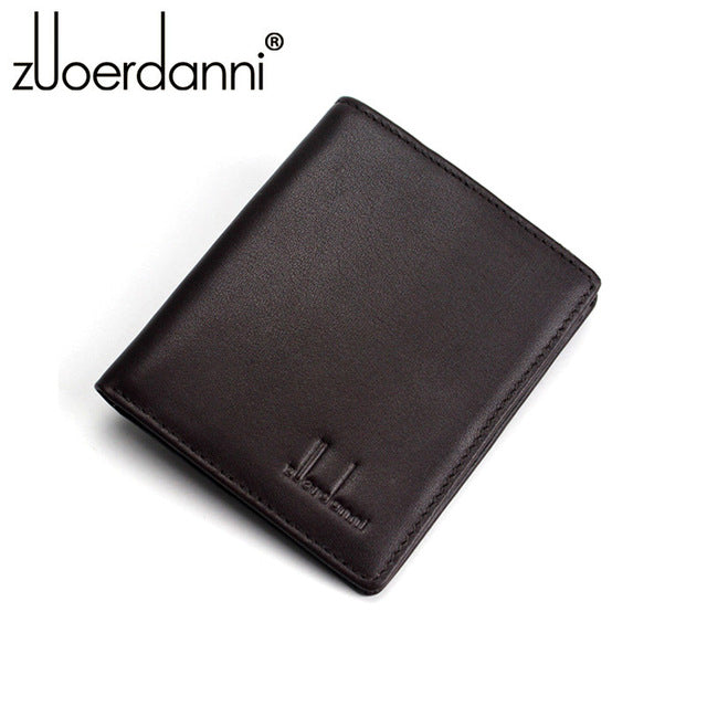 Mens Genuine Cowhide Leather Ultra-thin Compact Handmade Wallets