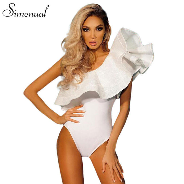 One shoulder ruffles fitness bodysuit women clothing fashion   slim bodycon jumpsuits solid ladies bodysuits rompers