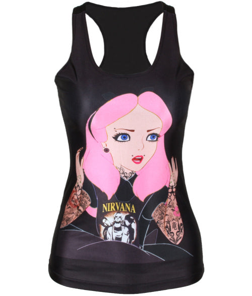 YEMUSEED New women t-shirt The Little Mermaid vest Ariel Cartoon print camisole   fashion punk