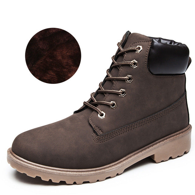 Winter Platform Boots Men Ankle Boots Suede Rubber Boots Comfortable  Martin Men Boots Plus Velvet Size 39-46