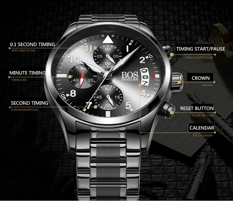 ANGELA BOS Chronograph Timer Fashion Watch Men Quartz-watch Luminous Calendar Date Stainless Steel Mens Watches Top Brand Luxury