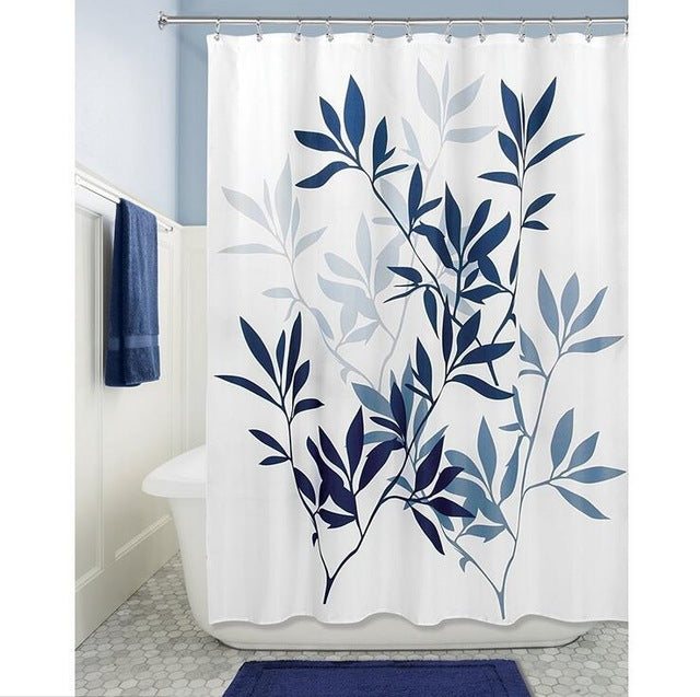 Simple 100% Polyester Shower Curtains 180x180cm Black Leaves Printed Waterproof Hooks Bathroom Curtains Home Decoration
