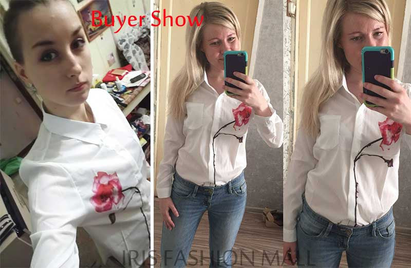 Autumn Rose Flower Printed Long Sleeve Blouse Women Turn Down Collar Chiffon Shirts White Women Clothes