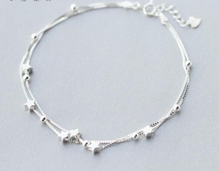 Sterling Silver Multi-Row LUCKY Beads & Star Anklets