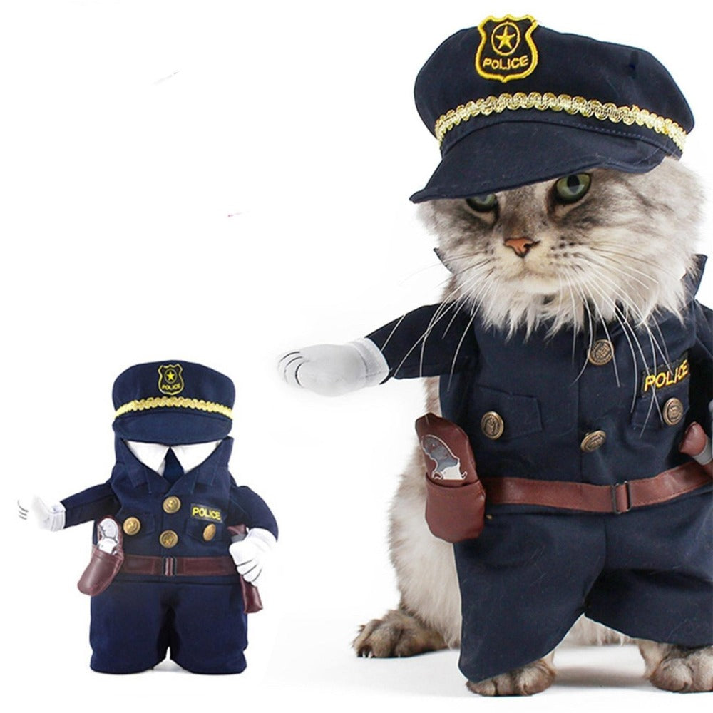 Gomaomi Pet Costume Policeman Style Dog Jeans Clothes Cat Funny Apperal