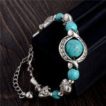 SHUANGR Bohemian Style Blue Natural Handmade Bracelets For Women Silver Color Heart Charm Bracelet Vintage Jewelry