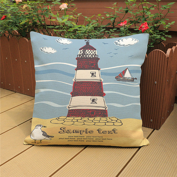 Cushion Cover Ocean Beach Series Lighthouse Boat Pillow Case for Sofa Car Home Decorative Throw Pillow Cover