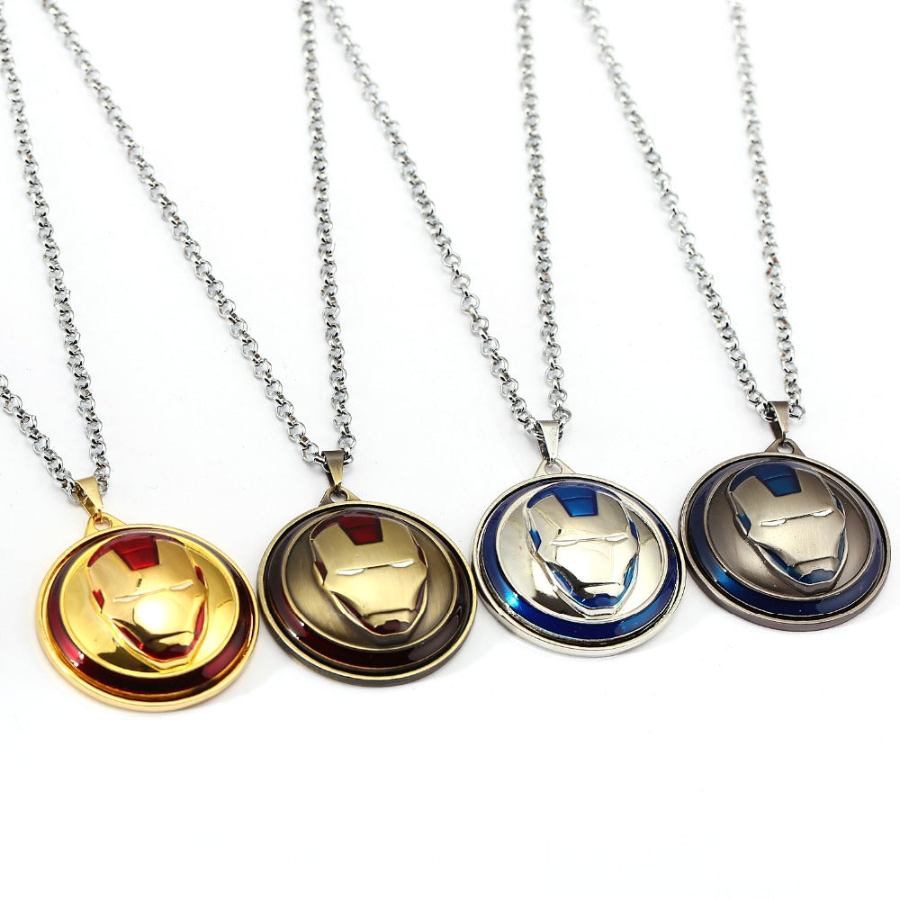 Iron Man Necklace The Avengers Rotatable High quality Pendant Fashion Stainless Steel Ironman Necklaces Gift Jewelry