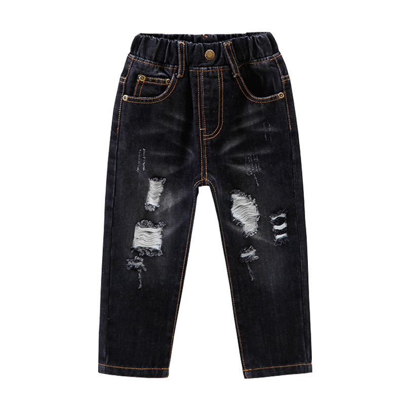 Kindstraum Baby Jeans Girls Boys Fashion Ripped Jeans 2 color Washed Casual Trousers Children Kids Cotton Denim Pants