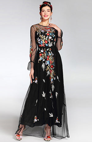 Newest Fashion Runway Maxi Dress Women's elegant Long Sleeve Tulle Gauze Flower Floral Embroidery Black Vintage Long Dress