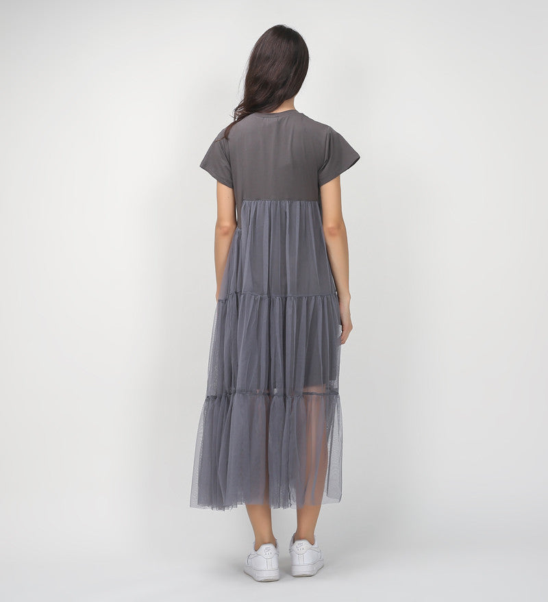 TWOTWINSTYLE Summer Korean Splicing Pleated Tulle T shirt Dress Women Big Size Black Gray Color Clothes New Fashion