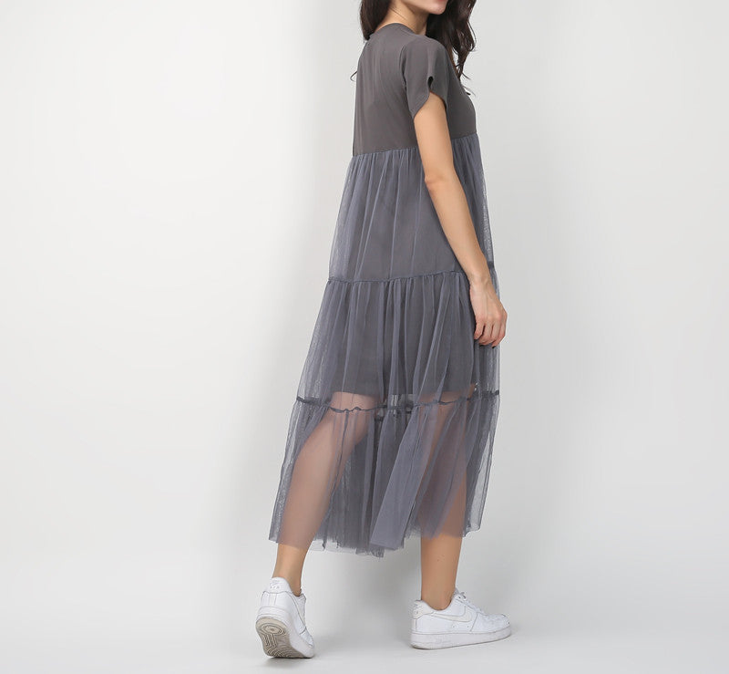 bdc9ecd7279ce TWOTWINSTYLE Summer Korean Splicing Pleated Tulle T shirt Dress Women Big  Size Black Gray Color Clothes