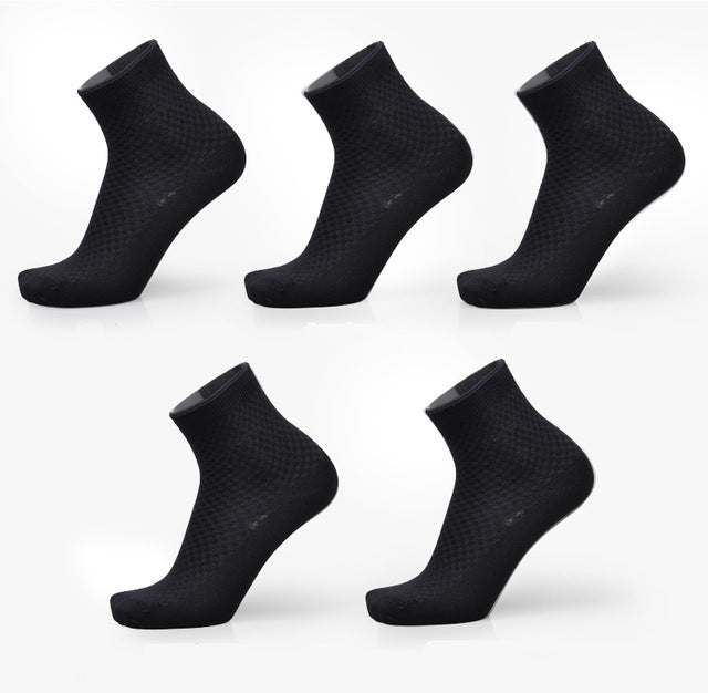 5 Pack: Men's Bamboo Fiber Anti-Bacterial Ankle Socks