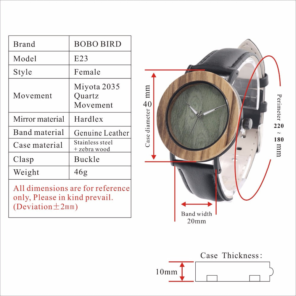Luxury BOBO BIRD Women Watches Zebra Wood Watch with Genuine Leather Strap Wrist Watch as Gifts relogio feminino C-E23