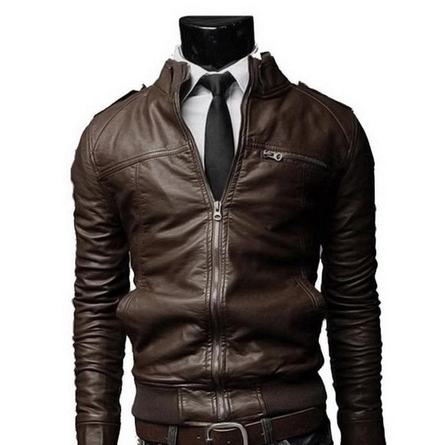 PU Leather Jacket Men Long Standing Collar Solid Color Jackets Overcoat Men Leather Jackets Male Clothing