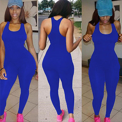 Fashion New Women Casual Sleeveless Bodycon Romper Jumpsuit Club Bodysuit Long Pants
