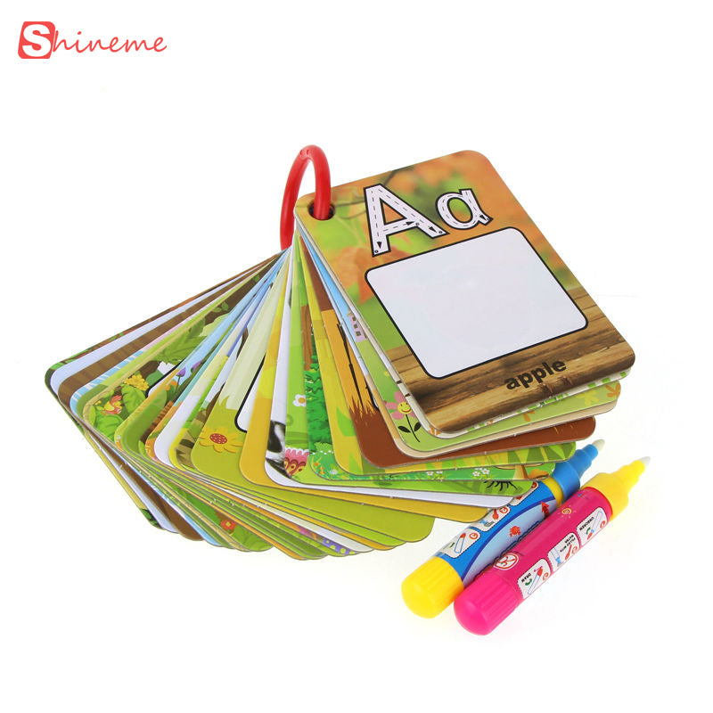 Educational toys for kids english learning card magic water drawing toys book with 2 magic Pen letter board kid Math Toys