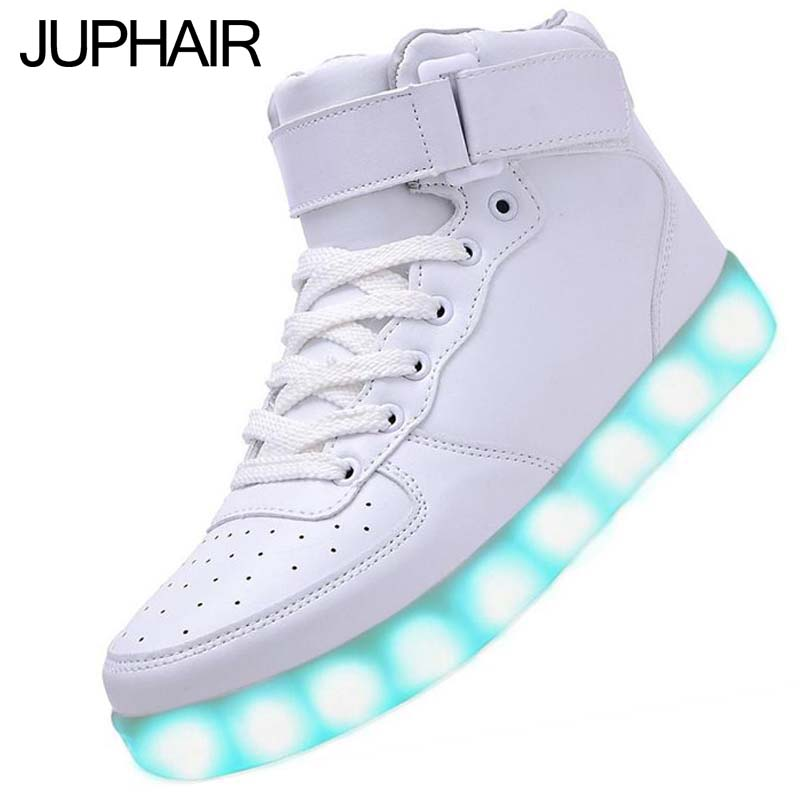 JUP White Shoes Womens Girl LED High  Shining Light Illuminate Intermitentes Colores Adult Casual USB Charging