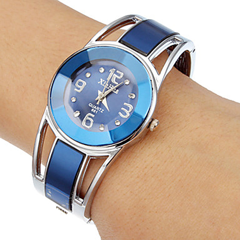 l Xinhua Bracelet Watch Women Blue Luxury Brand Stainless Steel Dial Quartz Wristwatches Ladies Fashion Watches